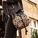 Mini Bucket Drawstring Bag In Leopard Print Pony Hair & Black Leather image