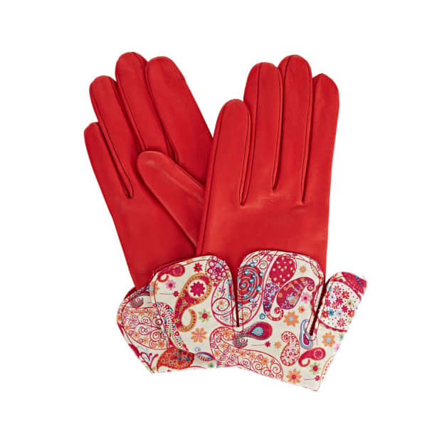 Palesa Red Leather Gloves With MD Liberty Tana Lawn