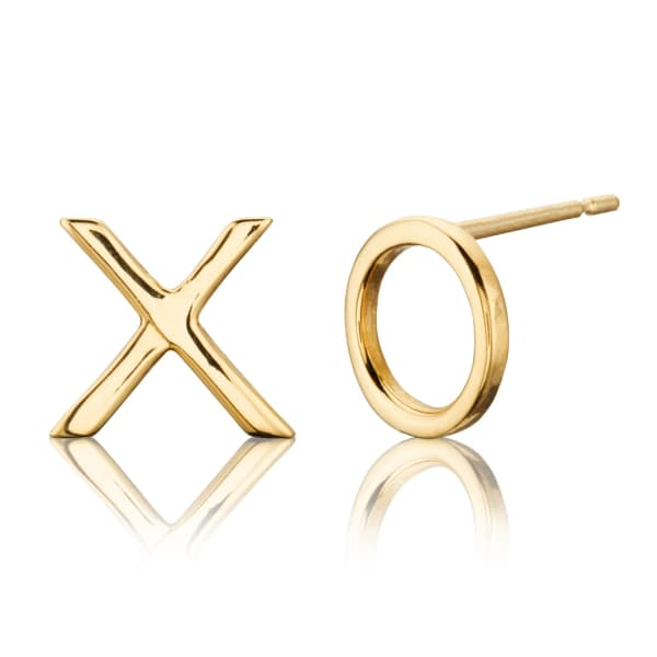LILY & ROO Solid Gold X O Stud Earrings
