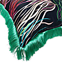 Grassed Cushion Satin Backed In Teal Velvet With Green Fringing image