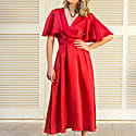 Denise Silk Dress In Red image