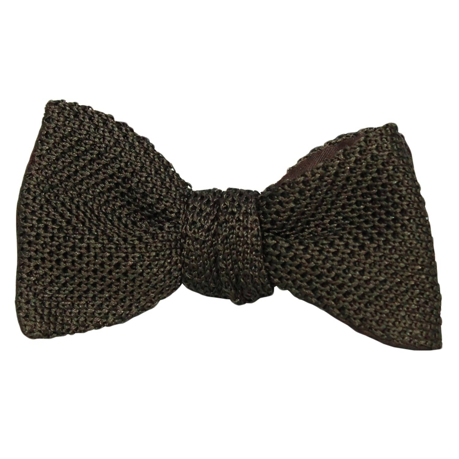 40 Colori Mens Knitted and Woven Self-Tie Butterfly Silk Bow Tie Dark Brown