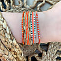 Single Wrap Bracelet In Sterling Silver And Polyester Threads In Bright Orange image