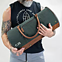 Gym Duffle In Green Canvas & Brown Leather image