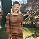 Boatneck Wool Jumper In Audrey Hepburn Style Tweed-Ginger image