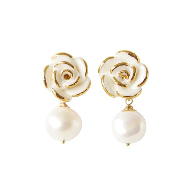POPORCELAIN Golden White Cloud Rose Pearl Drop Earrings