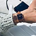 Neliö Square Vegan Leather Watch Rose Gold/Black/Tan image