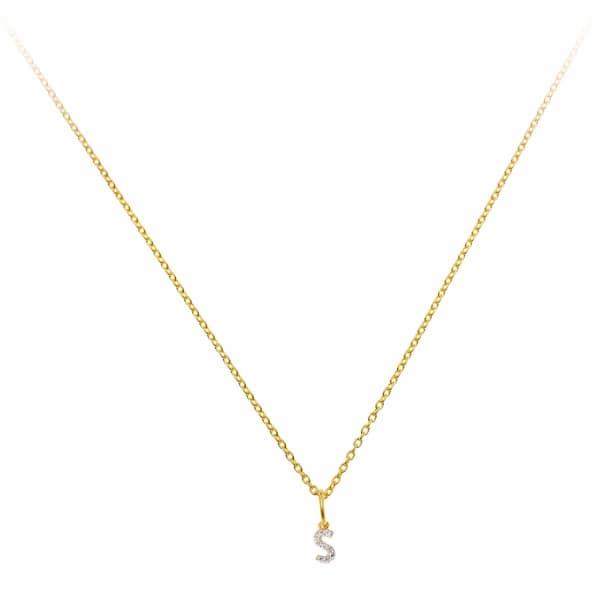 SHARON MILLS LONDON Monogram Mini Diamond Necklace S