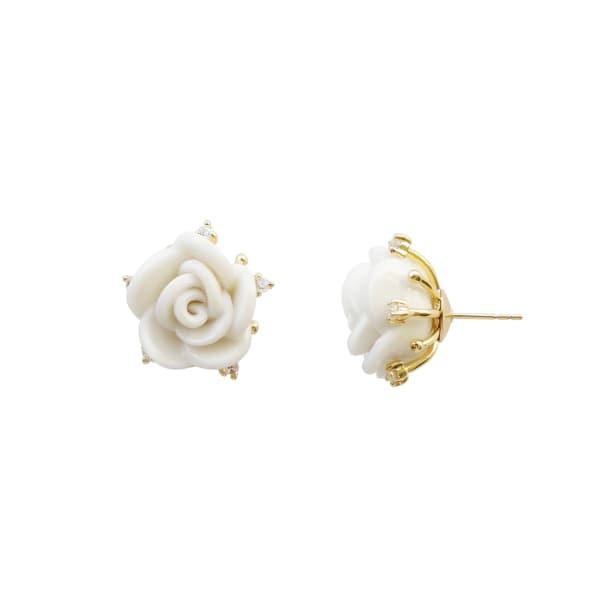 POPORCELAIN White Cloud Porcelain Rose Stud Earrings