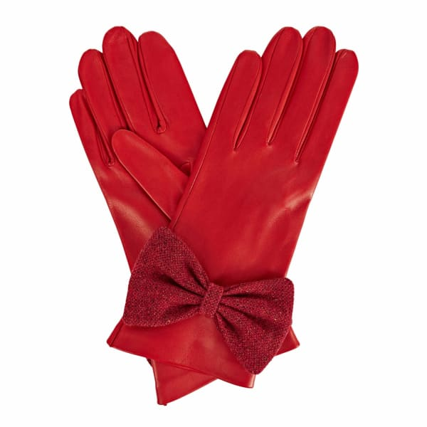 GIZELLE RENEE Josephine Red Leather Gloves With Red Speckle Wool