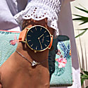 Mykonos Vegan Leather Watch Gold, Black & Coral image