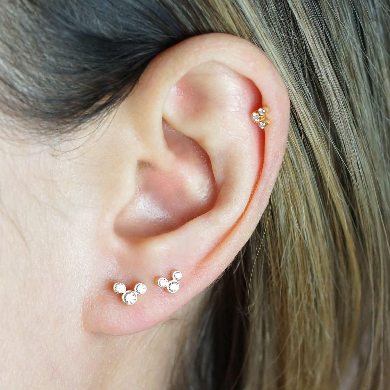 Golden Arch 18k Yellow Gold Diamond Cartilage Piercing Earring