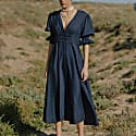 Azucar Navy Embroidered Midi Shirtdress image