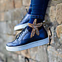 Navy Blue Bamboo Socks With Sparkling Gold Starfish Brooch image