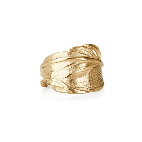 Swan Feather Ring Gold