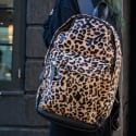 Classic Cowhide Leather Backpack Rucksack In Leopard Print image