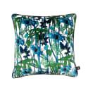 Electric Lagoon Blue White Velvet Cushion image