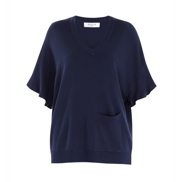 PAISIE Knitted V-Neck Top with Frill Sleeves & Front Pocket in Navy