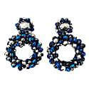 Navy Crystal Hand Made Crochet Mandala Earrings image