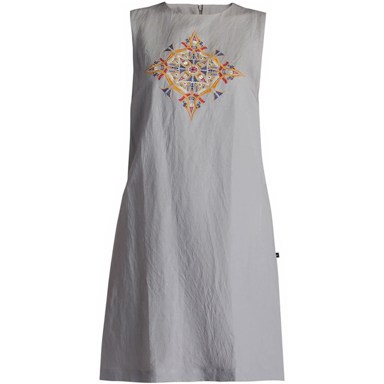 Vietnam Mandala Embroidered Linen Shift Dress Clay by GISY