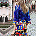 Double Breasted House Pattern Digital Print Dress With & Felt Necklace image