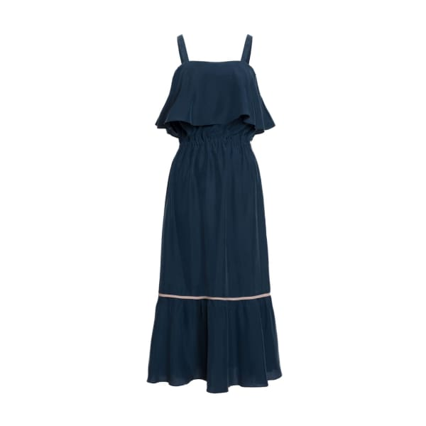 TOMCSANYI Totka Silky Contrast Ruffled Dress Navy