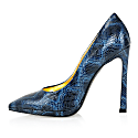 Python Effect Leather Pointy Pumps image