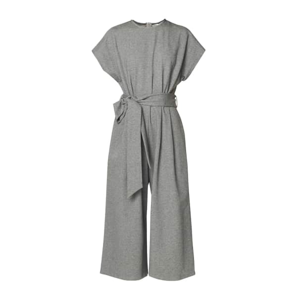 Paisie Cropped Jersey Jumpsuit With Self Belt In Charcoal