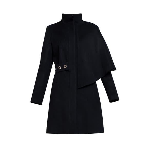 RUMOUR LONDON Mayfair Black Asymmetric Wool Blend Coat