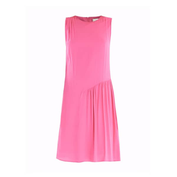 PAISIE Shift Dress with Gathered Shoulder & Side Panel in Pink