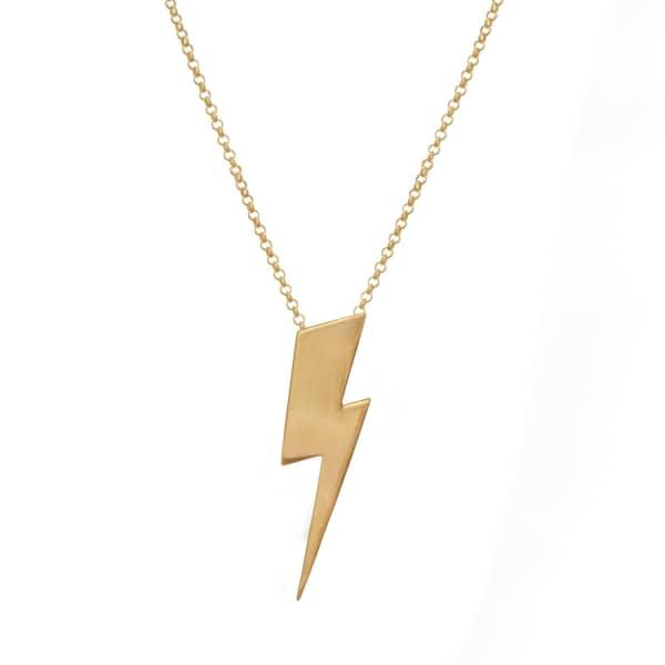 EDGE ONLY Flat Top Lightning Bolt Pendant Long Gold
