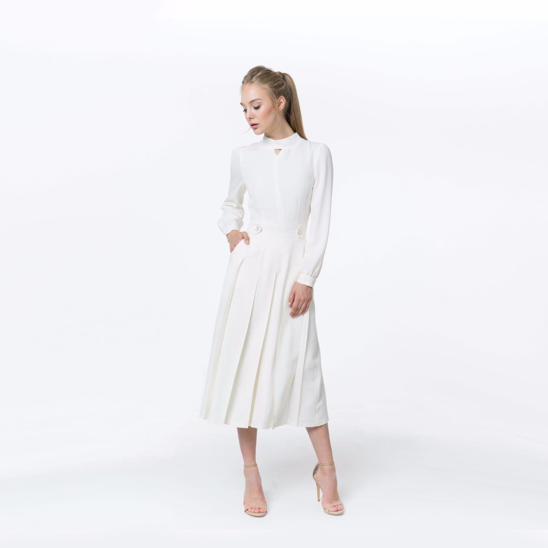 Daisy White Silk Wool Midi Dress | Shopyte | Wolf & Badger
