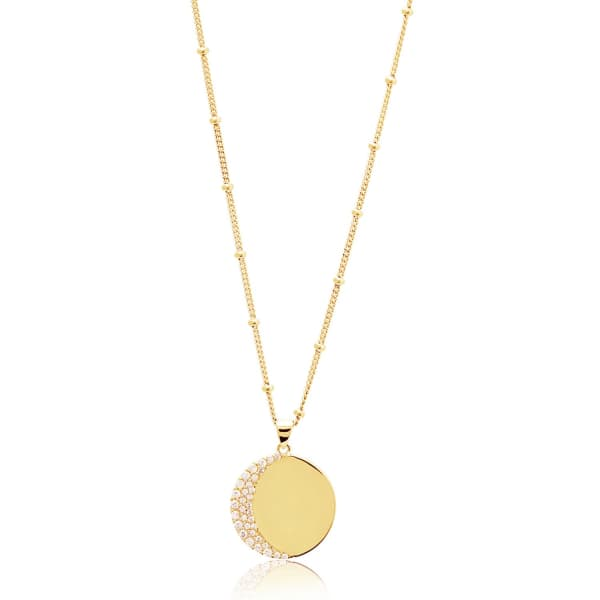 EDGE OF EMBER Moon Disc Gold Necklace