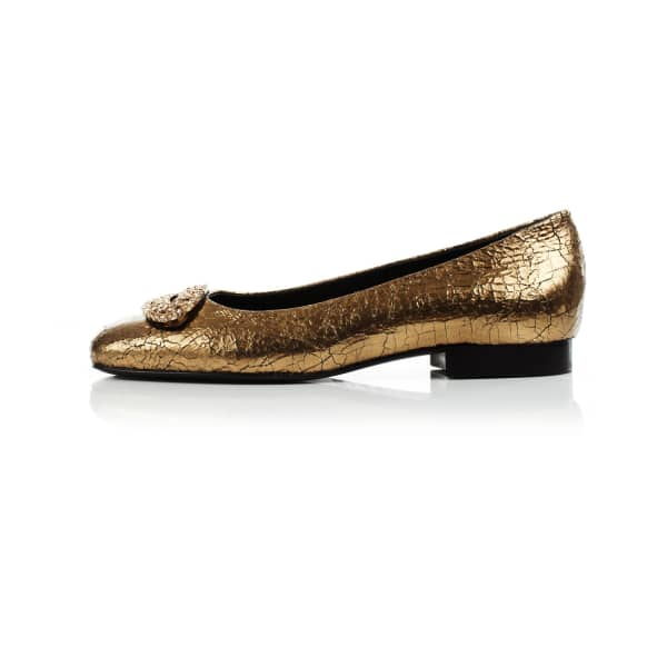 Cracked Metallic Diamante Ballerinas Gold