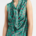 Savannah Print Silk Scarf Top Turquoise   image