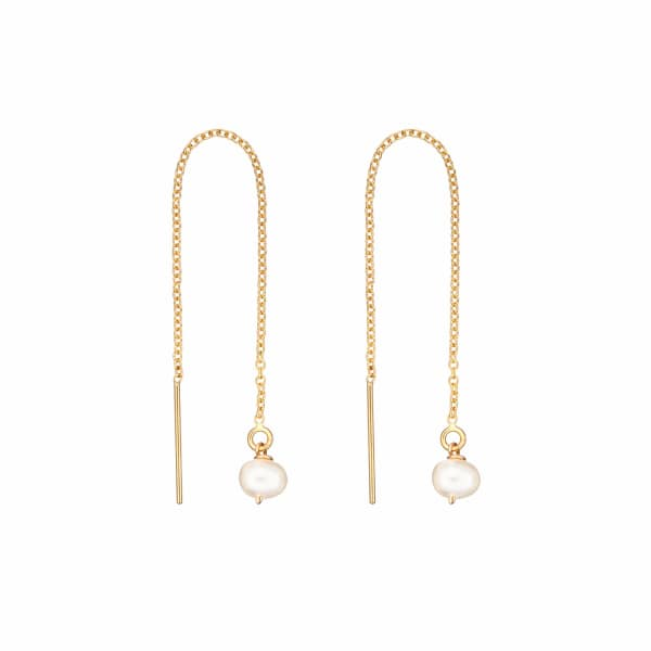 LILY & ROO Gold Pearl Drop Threader Earrings