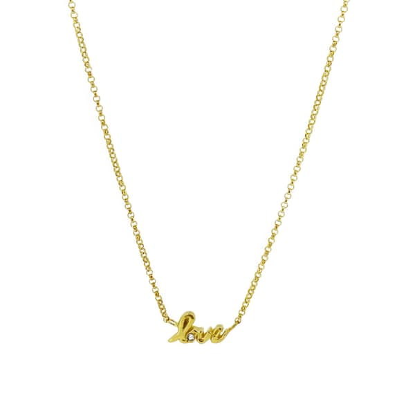 YVONNE HENDERSON JEWELLERY Love Script Necklace with White Sapphire Gold