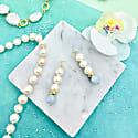 Round Freshwater Pearls & Aquamarine Earrings image