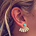 Turquoise Stud Poppy Earring With Fan Back image