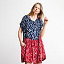 Mix Prints Button Down Midi Poncho Dress image
