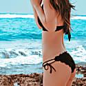 Cartagena Laser Cut Scallop Bikini Bottom With Tie Sides Black image