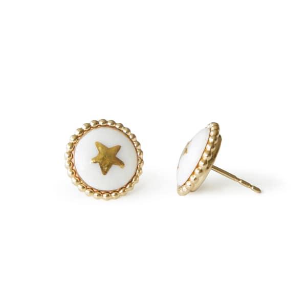 POPORCELAIN Gold Lustre Star Stud Earrings