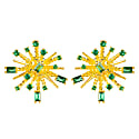 Cosmic Bang Baguette Cz Stud Earring Green Cz image