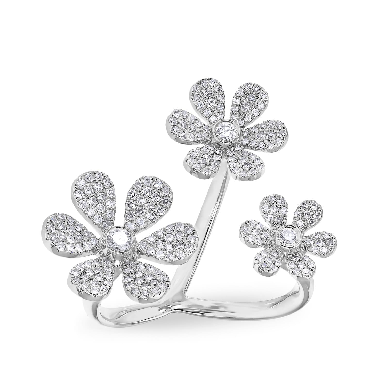 White gold diamond floating triple daisy flower ring anne sisteron white gold diamond floating triple daisy flower ring image izmirmasajfo