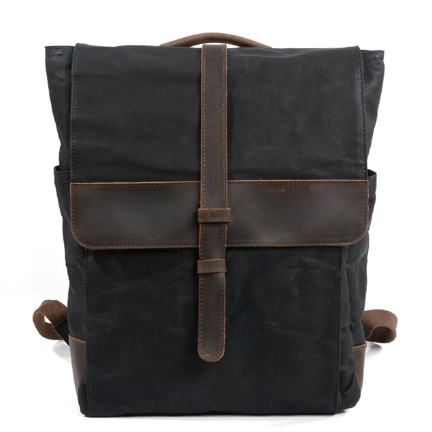 c10378d7e Front Leather Strap Waxed Canvas Backpack In Black | EAZO | Wolf ...