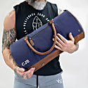 Gym Duffle In Navy Canvas & Brown Leather image