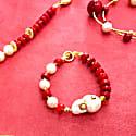 Studded Crystals Pearl & Coral Bracelet image