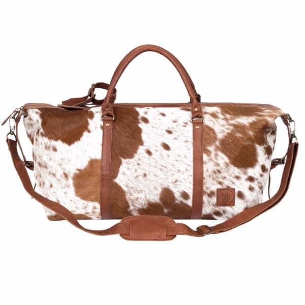 MAHI LEATHER Leather Long Armada Duffle Large Weekend / Overnight Holdall Bag - Animal Print Pony Hair