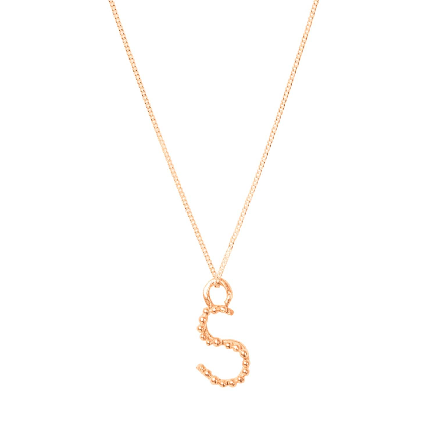 Solid rose gold s letter pendant necklace lily flo jewellery solid rose gold s letter pendant necklace image aloadofball Gallery