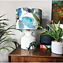 Lamp Shade In Teal & Green Leaves image